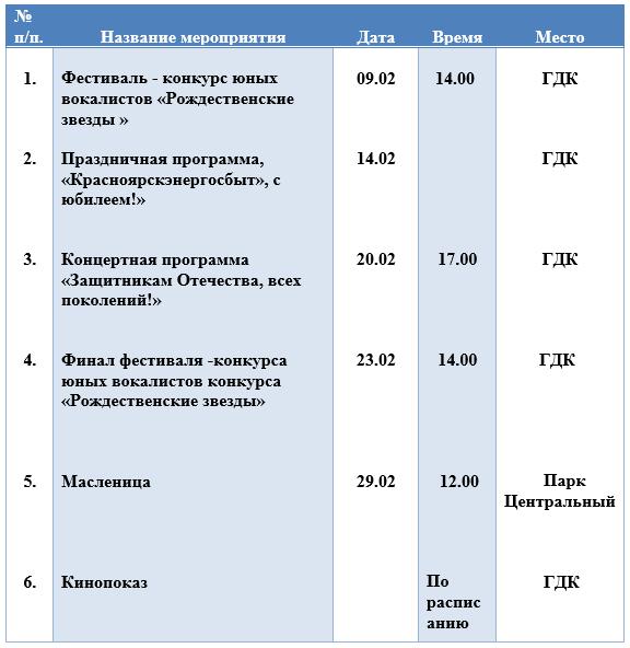 План мероприятий МАУ «ЦКР г.Шарыпово» на февраль 2020